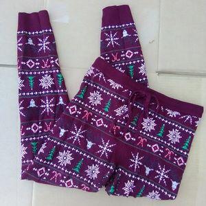 American Eagle sweater Leggings burgundy christmas
